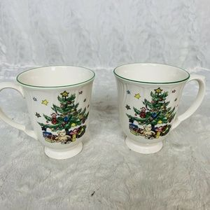 Nikko Christmas Footed Cups Happy Holidays Set
